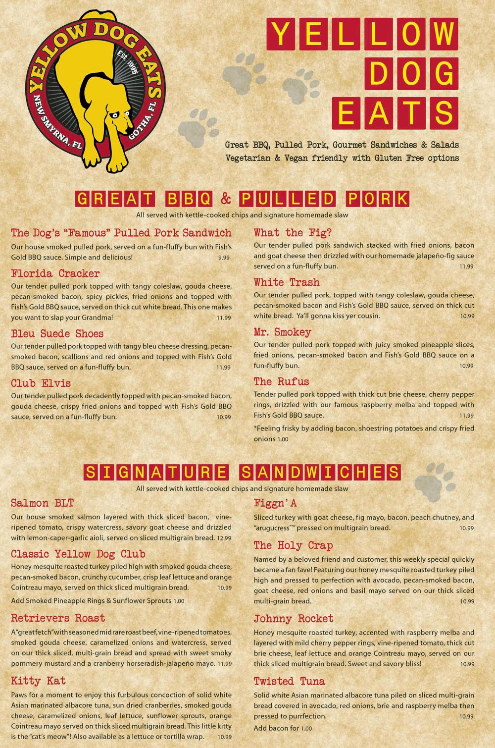 Yde Kitchen Bar Menu Yellow Dog Eats